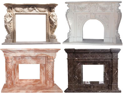 Carved fireplace and fireplace surrounds