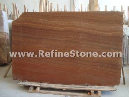 Red wooden marble slab