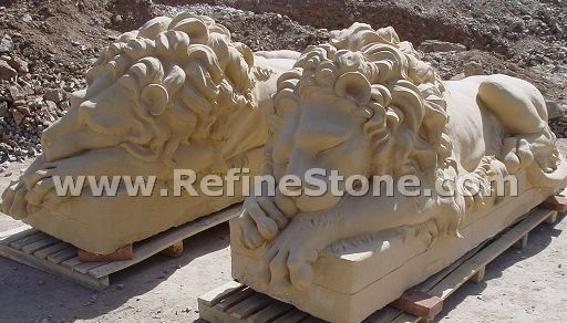 Marble animal carvings,Sleeping lion marble statue,C4498