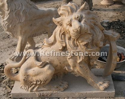 Marble animal carvings,Decoration sitting lion statue,C4530