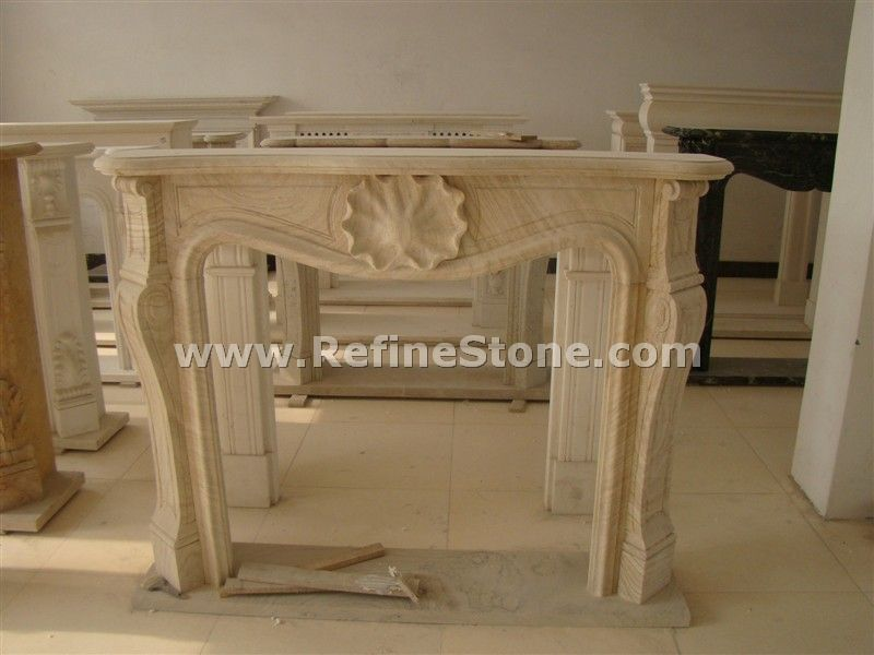 Yellow wood marble fireplace