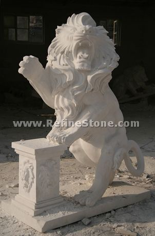 Marble animal carvings,modern stone lion sculpture,C4533