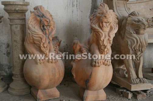 Marble animal carvings,Pair of marble lion statue,C4534