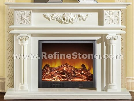 Pure white fireplace
