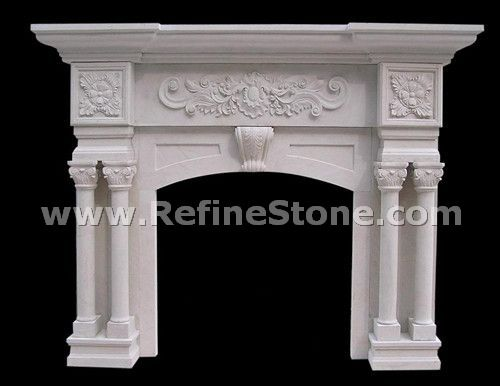 Fireplace with column