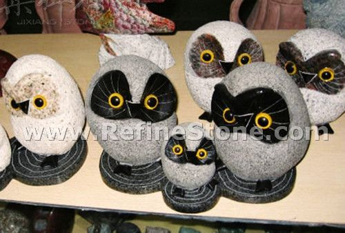 Granite Animal Carvings,Grey and black owl granite carving,C4692