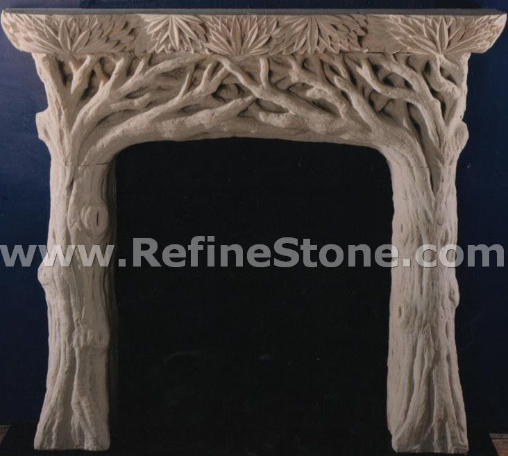 Tree shaped sandstone fireplace