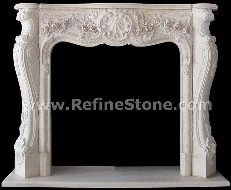 Carved fireplace and fireplace surrounds,White marble fireplace from China factory,C4919