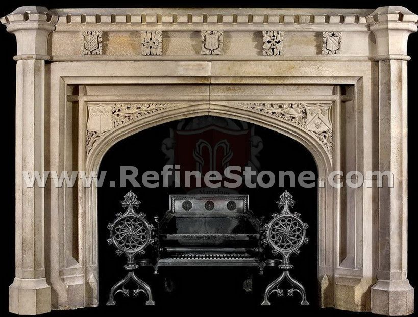 Beige fireplace marble sculpture