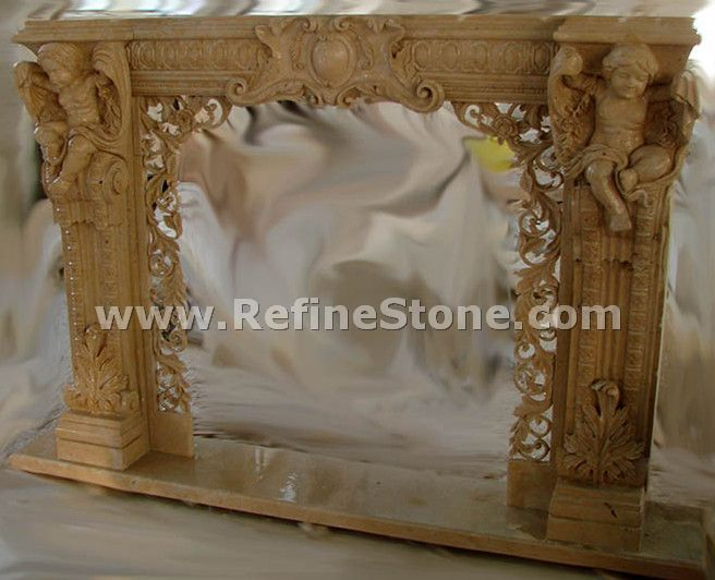 Yellow limestone fireplace with children carved