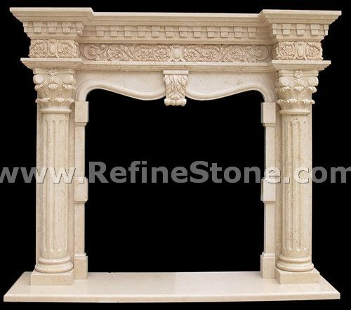 Fireplace design , mantel carving stone ,