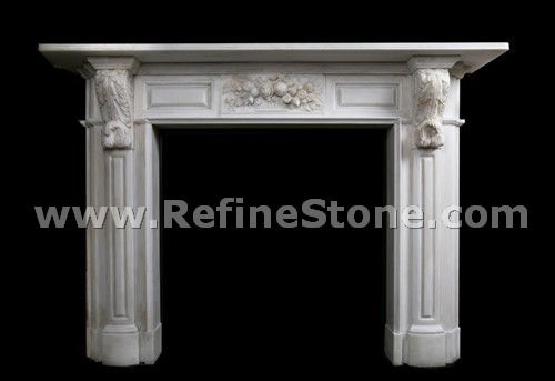 Chinese decorated western style fireplace mantel