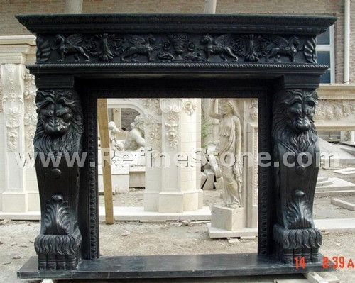 Black marble fireplace polished surface