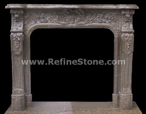 Brown marble polished fireplace