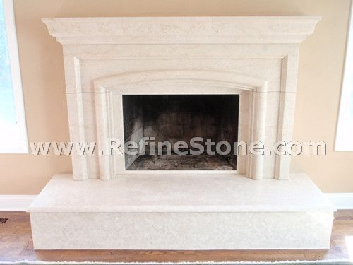 Discount Beige marble fireplace mantel