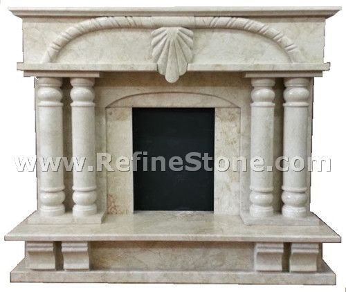 Large marble fireplace cut