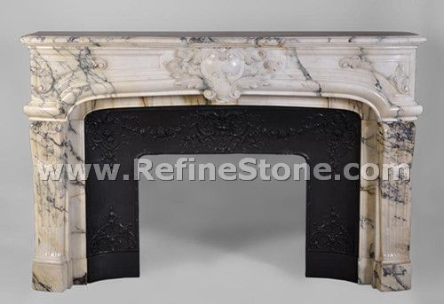 Carved fireplace and fireplace surrounds,large antique regence style fireplace made of seravezza marble finely carved,C4935