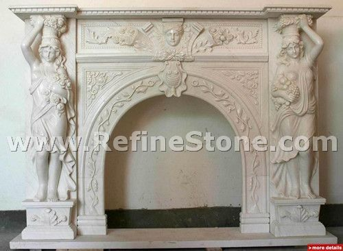 Indoor white marble decorated fireplace