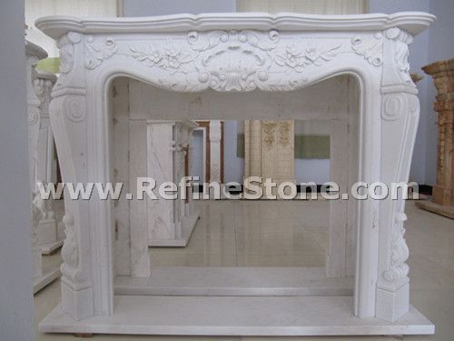 Premium pure white marble fireplace