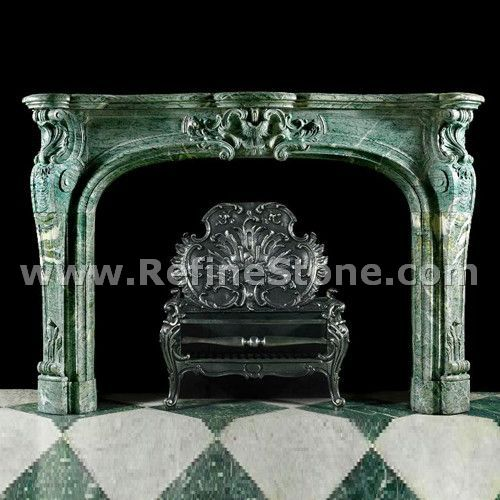 Green marble polished fireplace producer