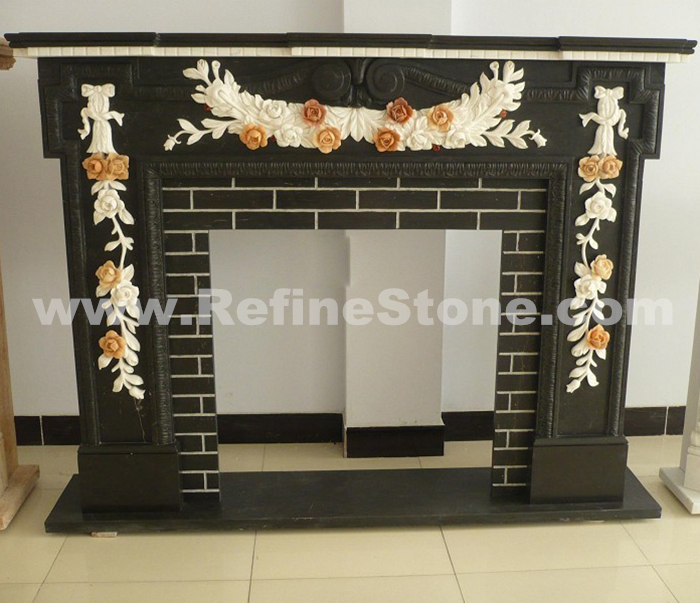 Black Marble Carving Fireplace