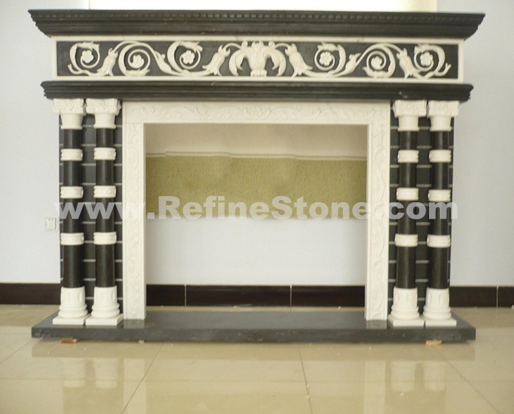 Double Pillar Marble Fireplace
