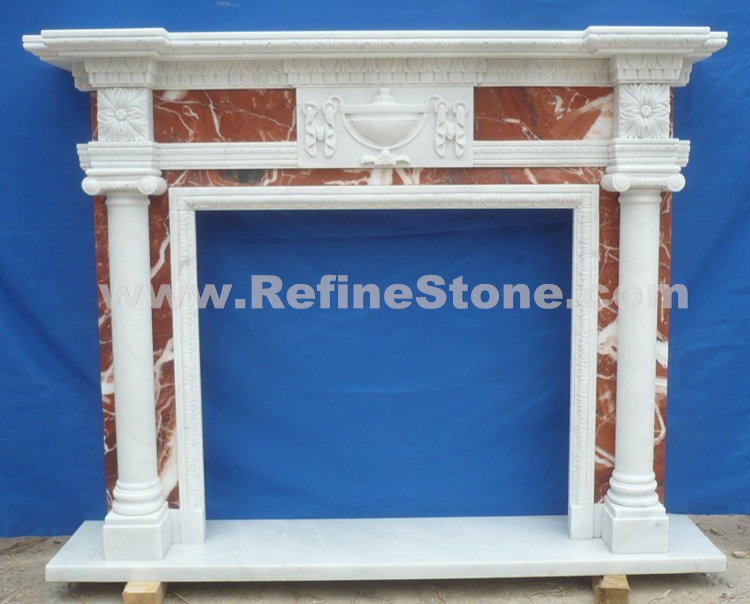 Stone Carved  Marble Fireplace Surround With Pillars