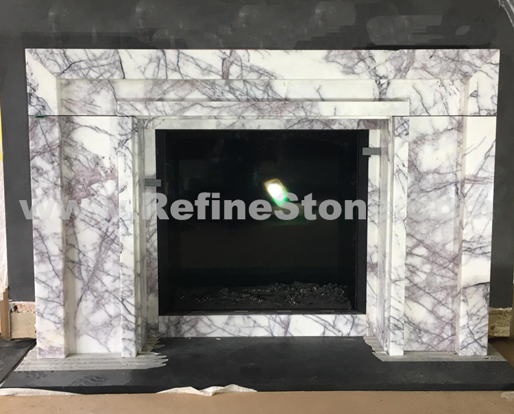Lilac marble fireplace