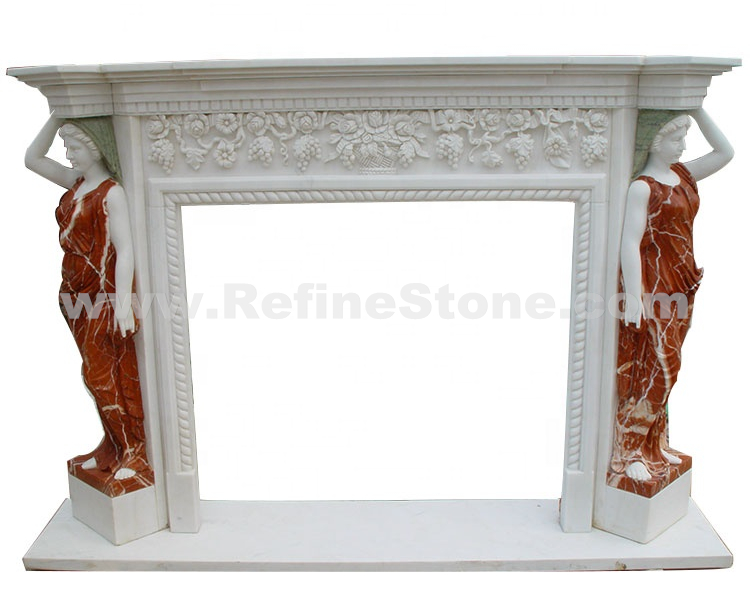 Figure Marble Carving Stone Fireplace
