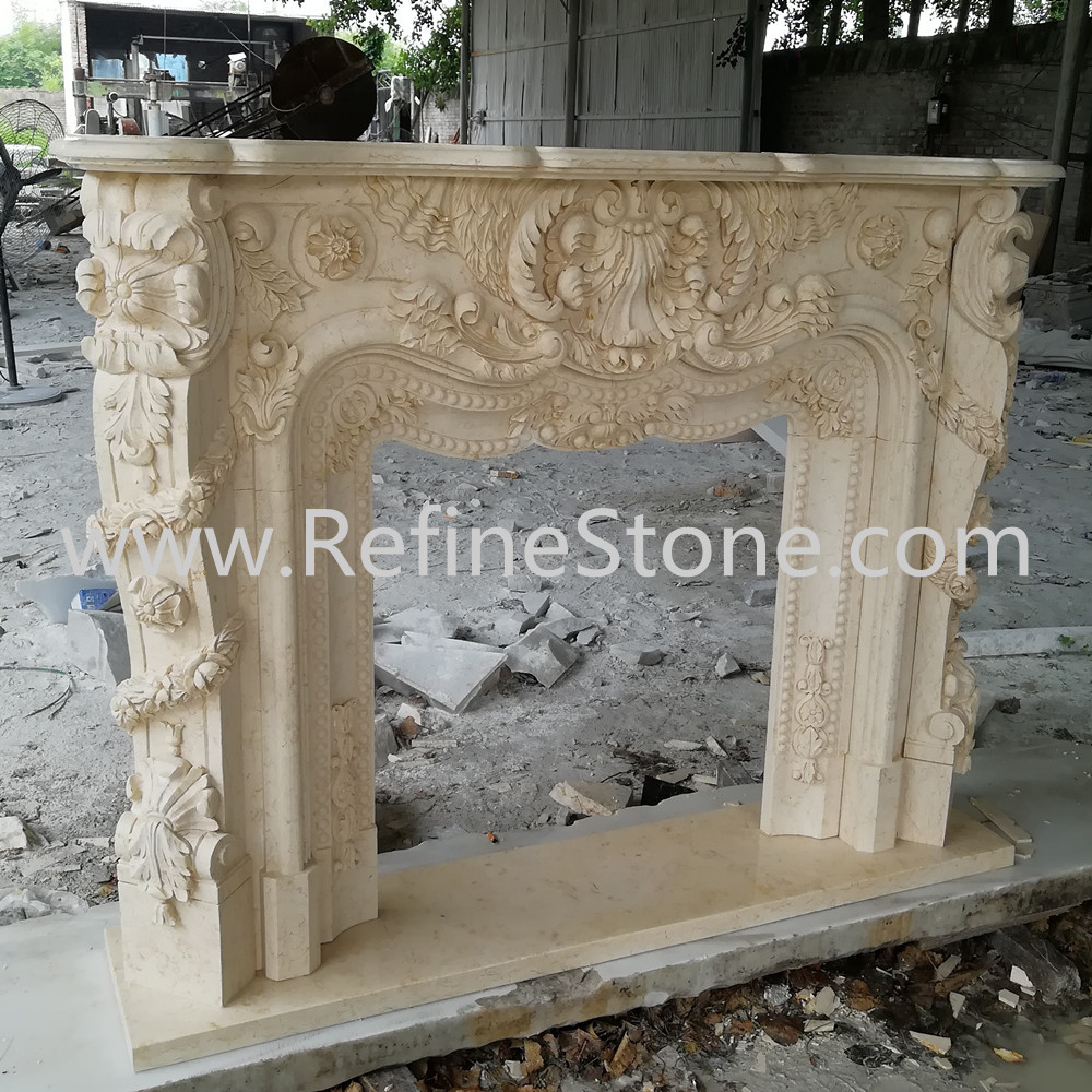 Sunny beige marble fireplace surround