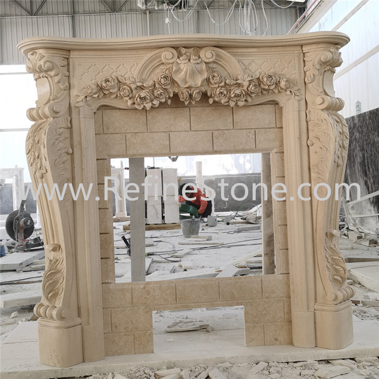 Galala beige marble fireplace
